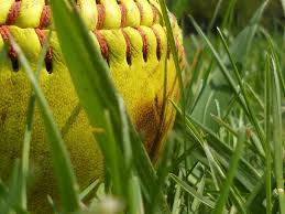 old softball in grass